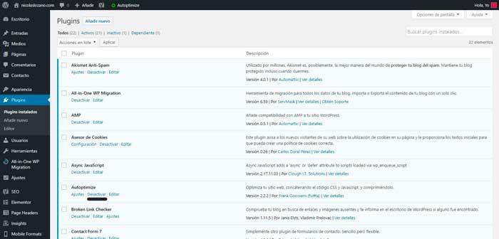 instala desactiva elimina plugins de wordpress