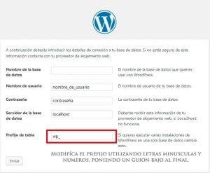 base de datos de wordpress